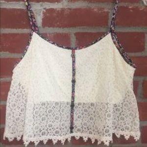 Paper Crane Floral Crochet Crop Top